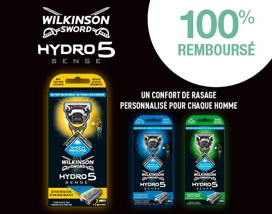 Rasage Rasoir Wilkinson Hydro 5 Sense 100% remboursé by ODR (dans la limite de 13€)
