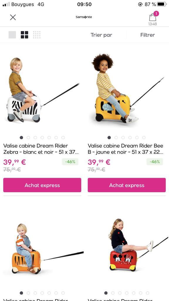 Bagage Valise à roulettes enfant Dream Rider Samsonite plusieurs modèles disponibles