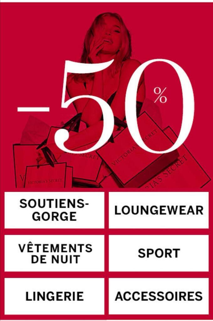 Lingerie -50% sur tous les articles de fin de series