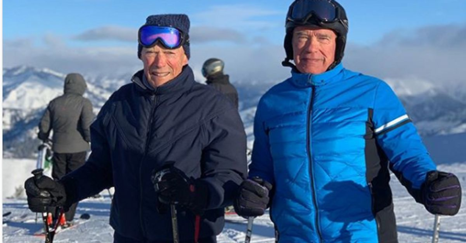 Ski Arnold Schwarzenegger et Clint Eastwood font du ski ensemble