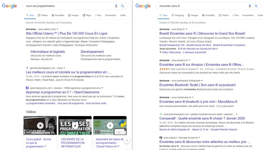 Bureau Actualité : Résultats Google Search : un repérage des publicités plus complexe