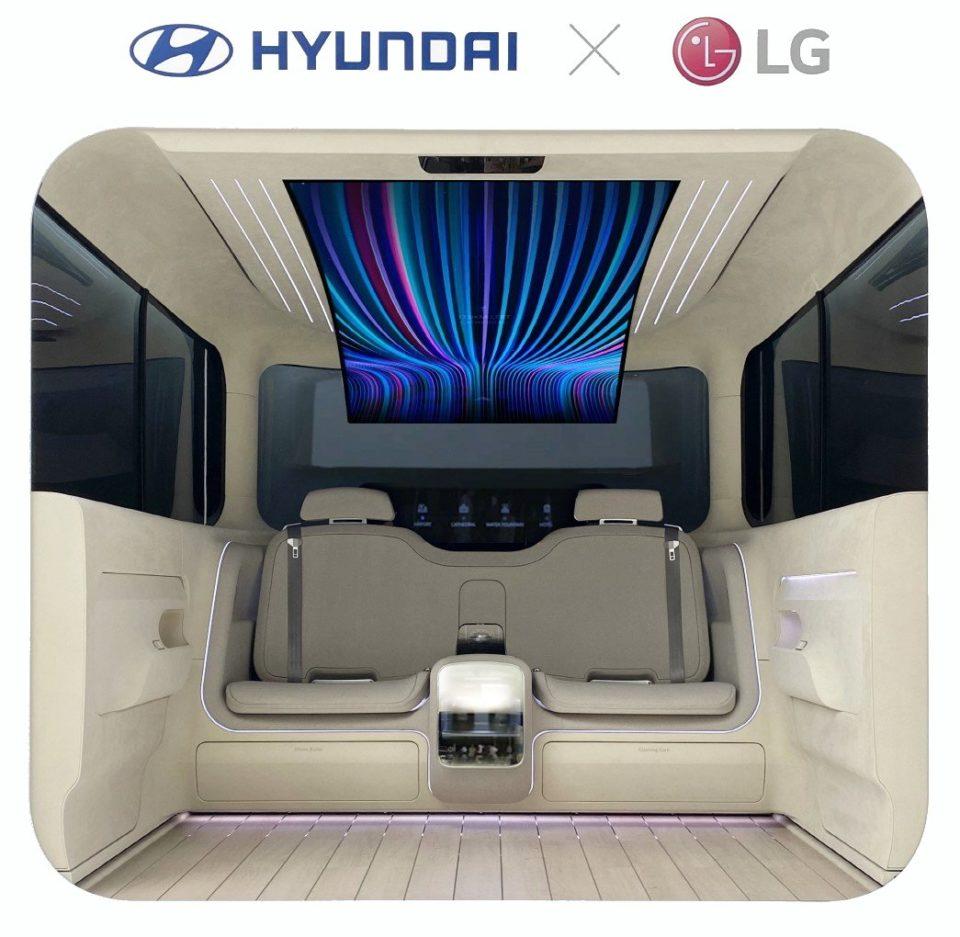 Chaussures Un écran LG flexible de 77 pouces dans la IONIQ de Hyundai